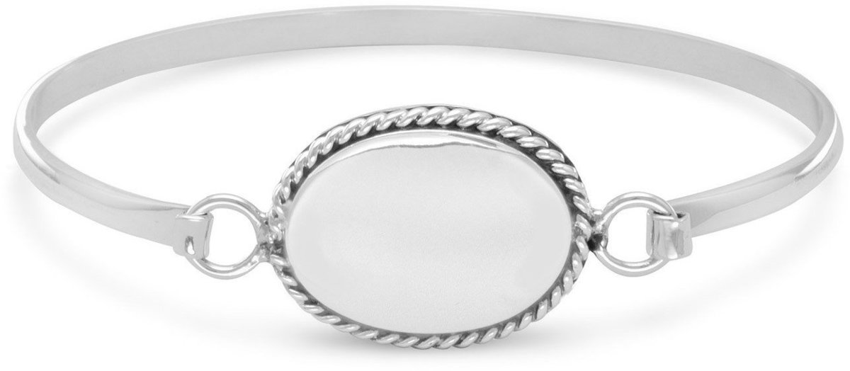 Bangle with Oval Tag and Rope Edge 925 Sterling Silver