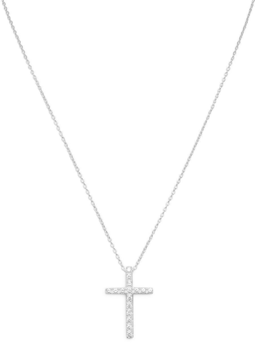 "16"" CZ Cross Necklace 925 Sterling Silver"