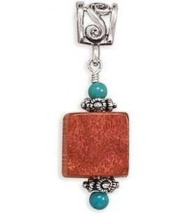 "16""+2""Extension Leather Necklace with Turquoise and Square Sponge Coral 925 Sterling Silver"