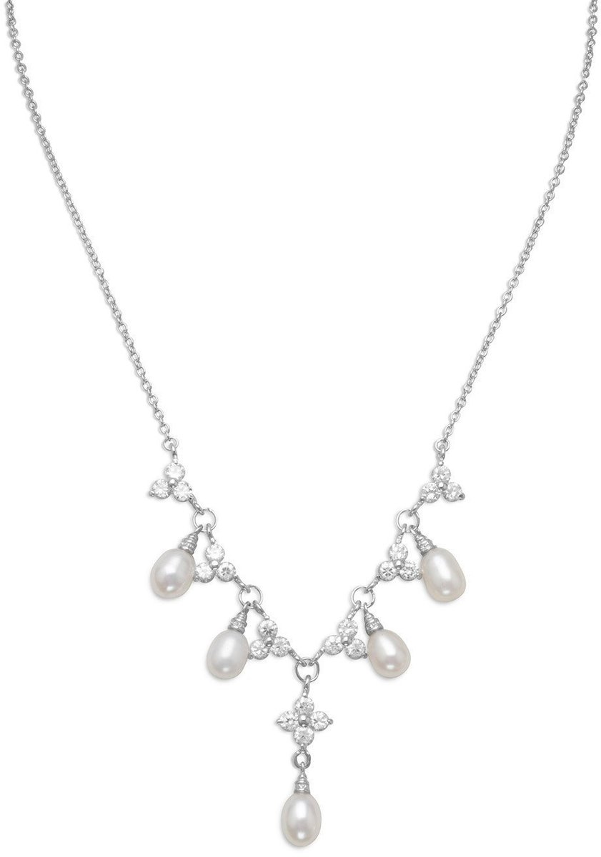 "16""+2""Extension Rhodium Plated CZ Flower and Cultured Freshwater Pearl Necklace 925 Sterling Silver"