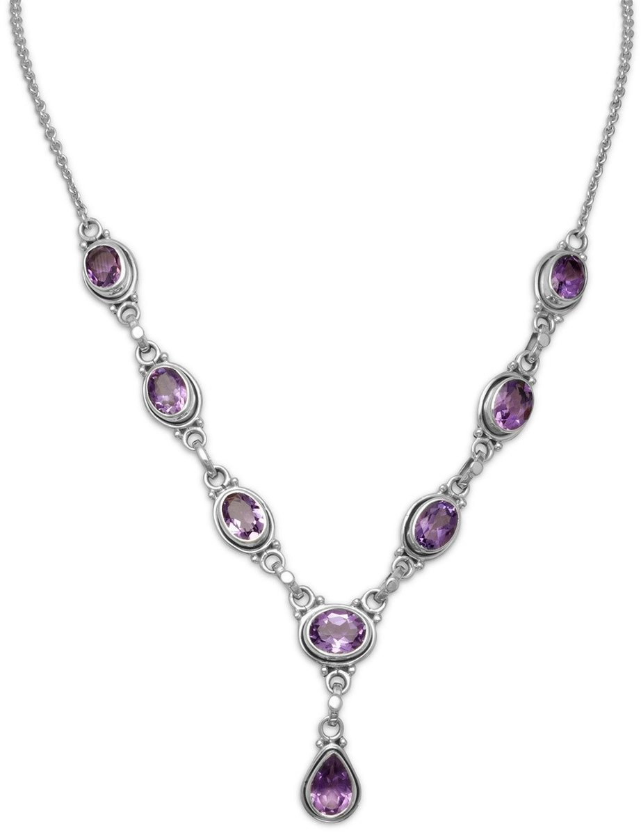 "15.5""+1.5""Extension Oval and Pear Shape Amethyst Necklace 925 Sterling Silver"