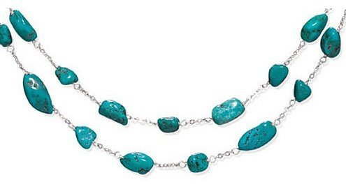 "16"" + 2"" Extension Double Strand Turquoise Nugget Necklace 925 Sterling Silver"