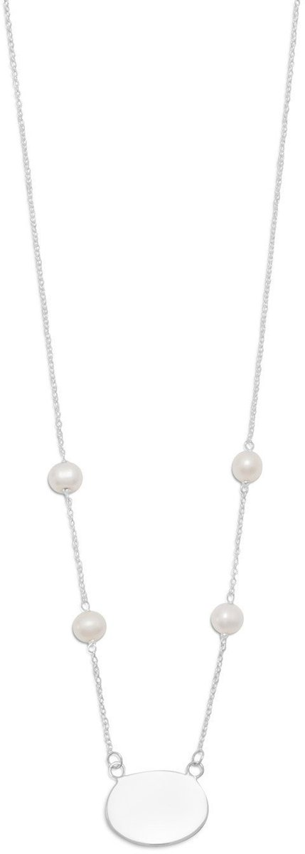 "16"" Necklace with White Cultured Freshwater Pearls and Oval ID Tag 925 Sterling Silver"