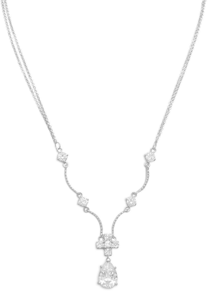 "16""+2"" Extension Rhodium Plated 2 Strand Necklace with CZs 925 Sterling Silver"