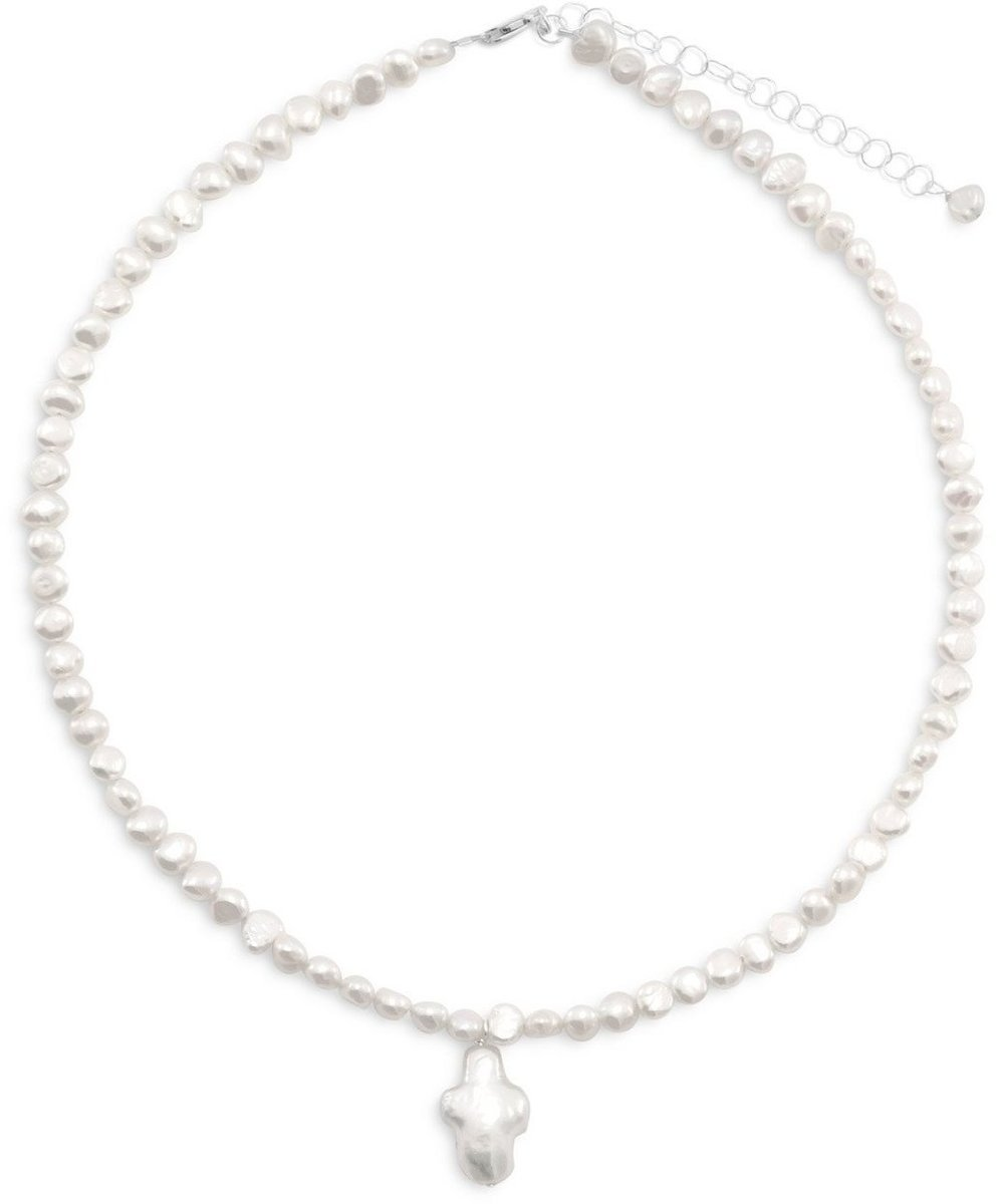 "13""+2"" Extension Cultured Freshwater Pearl Necklace with Pearl Cross 925 Sterling Silver"