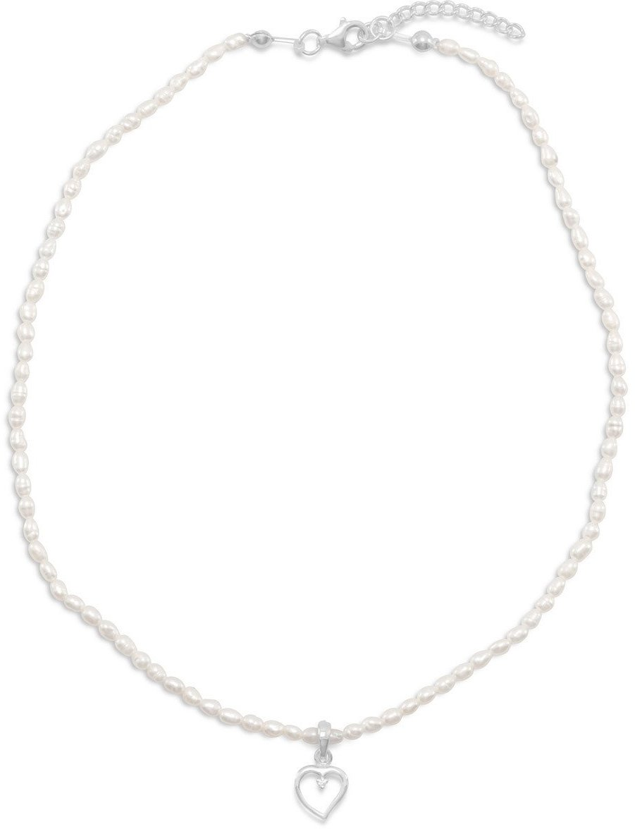 "14""+1""Extension Cultured Freshwater Pearl Necklace with Heart and CZ Pendant 925 Sterling Silver"