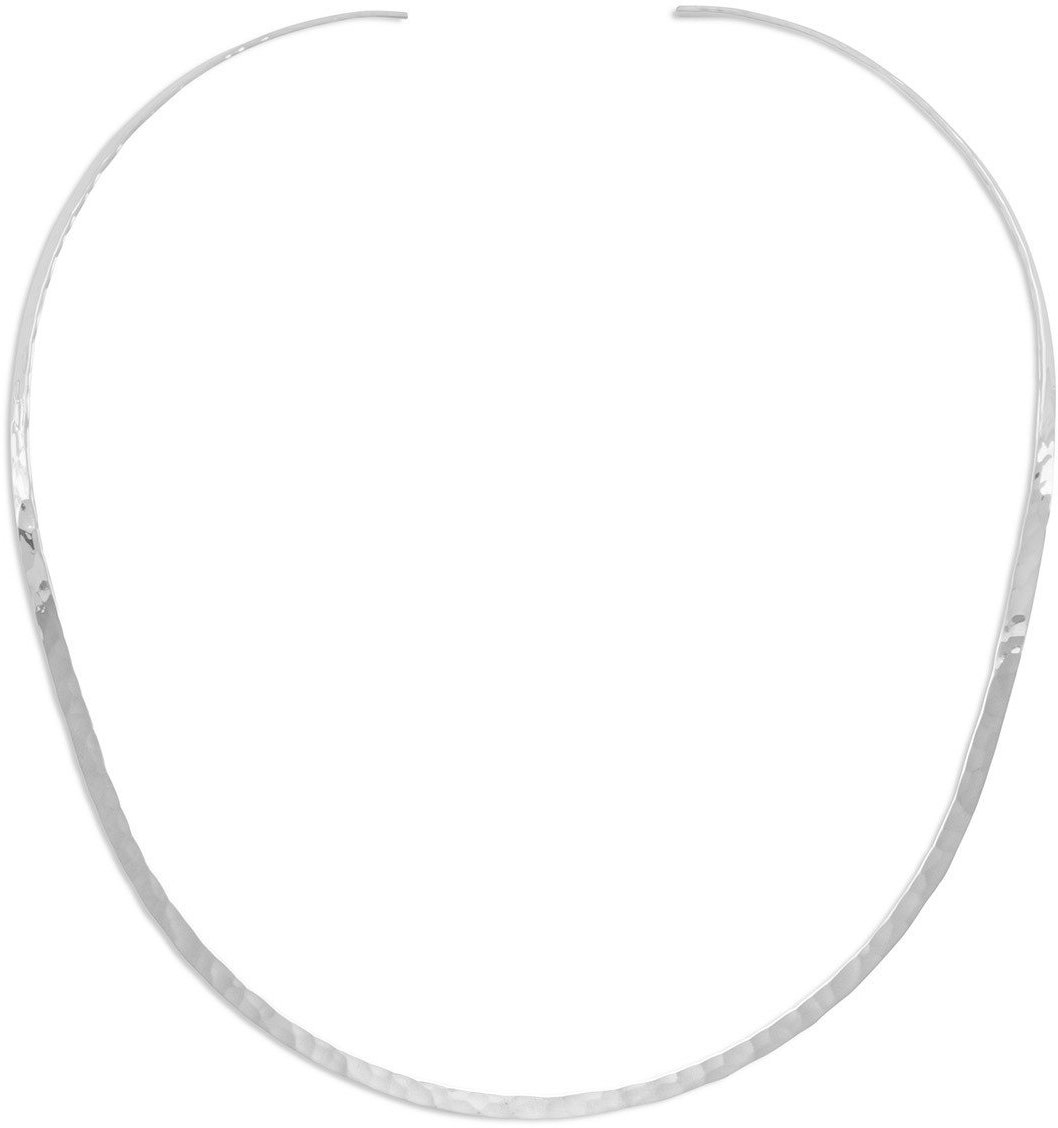 "3mm (1/8"") Hammered Open Back Collar 925 Sterling Silver"