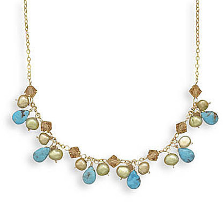 "16""+2""Extension 14/20 Gold Filled Necklace with Turquoise, Cultured Freshwater Pearl and Crystal 925 Sterling Silver - LIMITED STOCK"