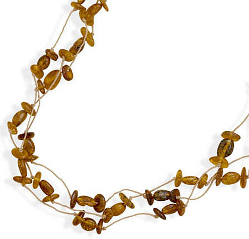 "20"" Triple Strand Cord Necklace with Baltic Amber Beads"