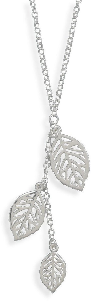 "16.5"" Necklace with Three Leaf Drop 925 Sterling Silver"