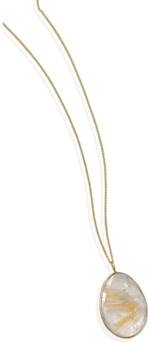 "16""+1""+1""Extension 14 Karat Gold Plated and Rutilated Quartz Necklace 925 Sterling Silver"