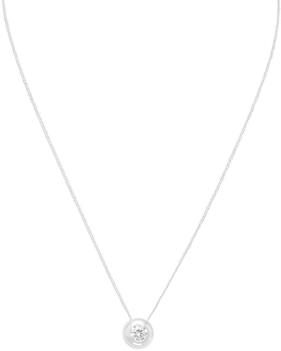 "16"" Necklace with 5mm (1/5"") Bezel Set CZ 925 Sterling Silver"