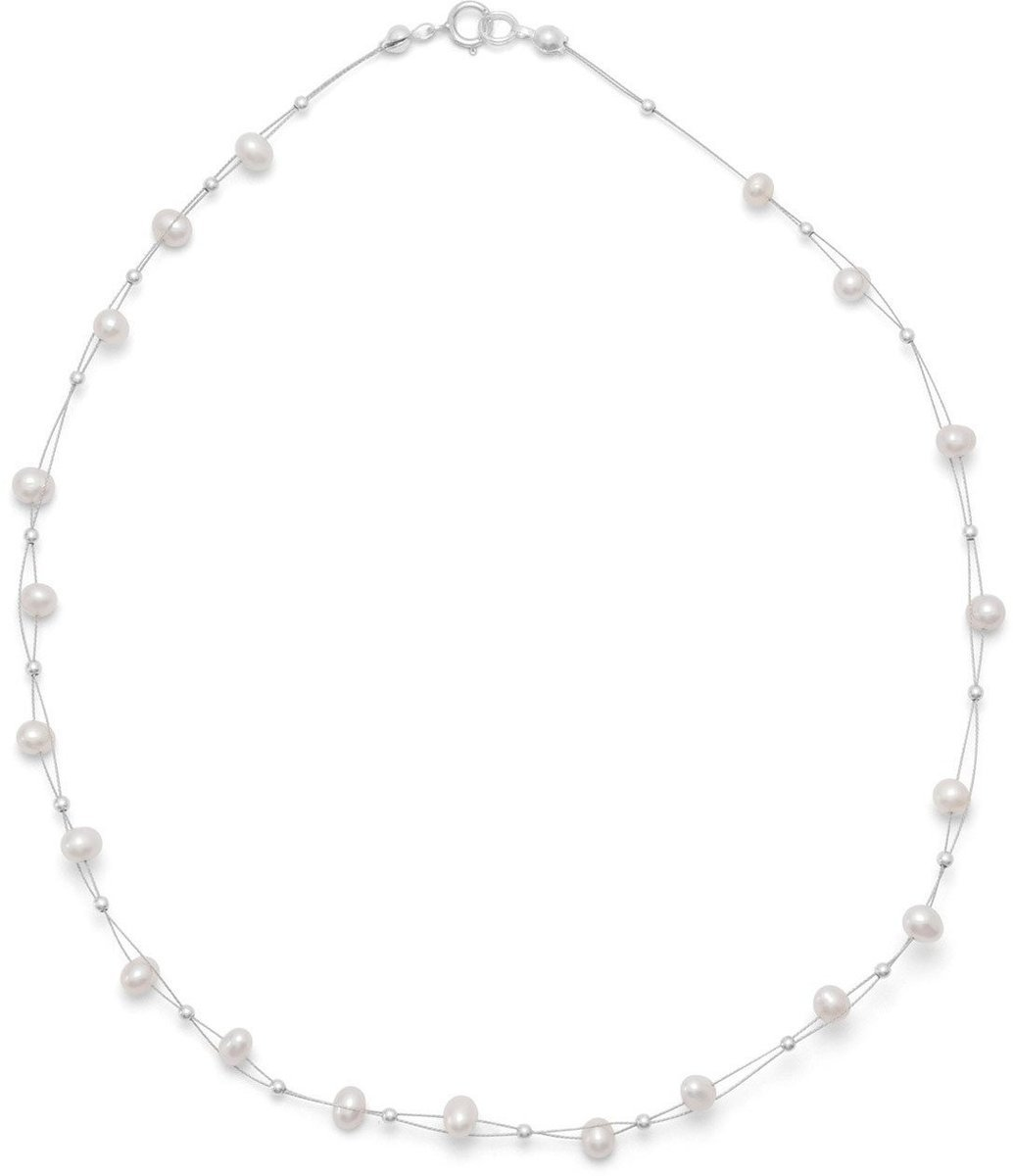 "16"" Double Strand Cultured Freshwater Pearl Necklace 925 Sterling Silver"