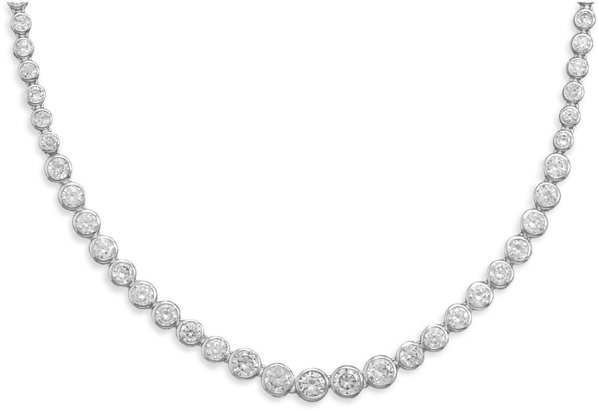 "16"" Graduated Bezel CZ Necklace 925 Sterling Silver"