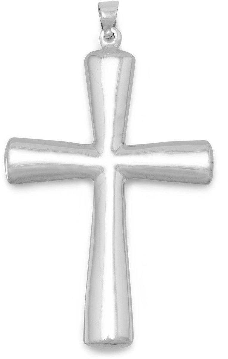 Plain Puffed Cross Pendant 925 Sterling Silver