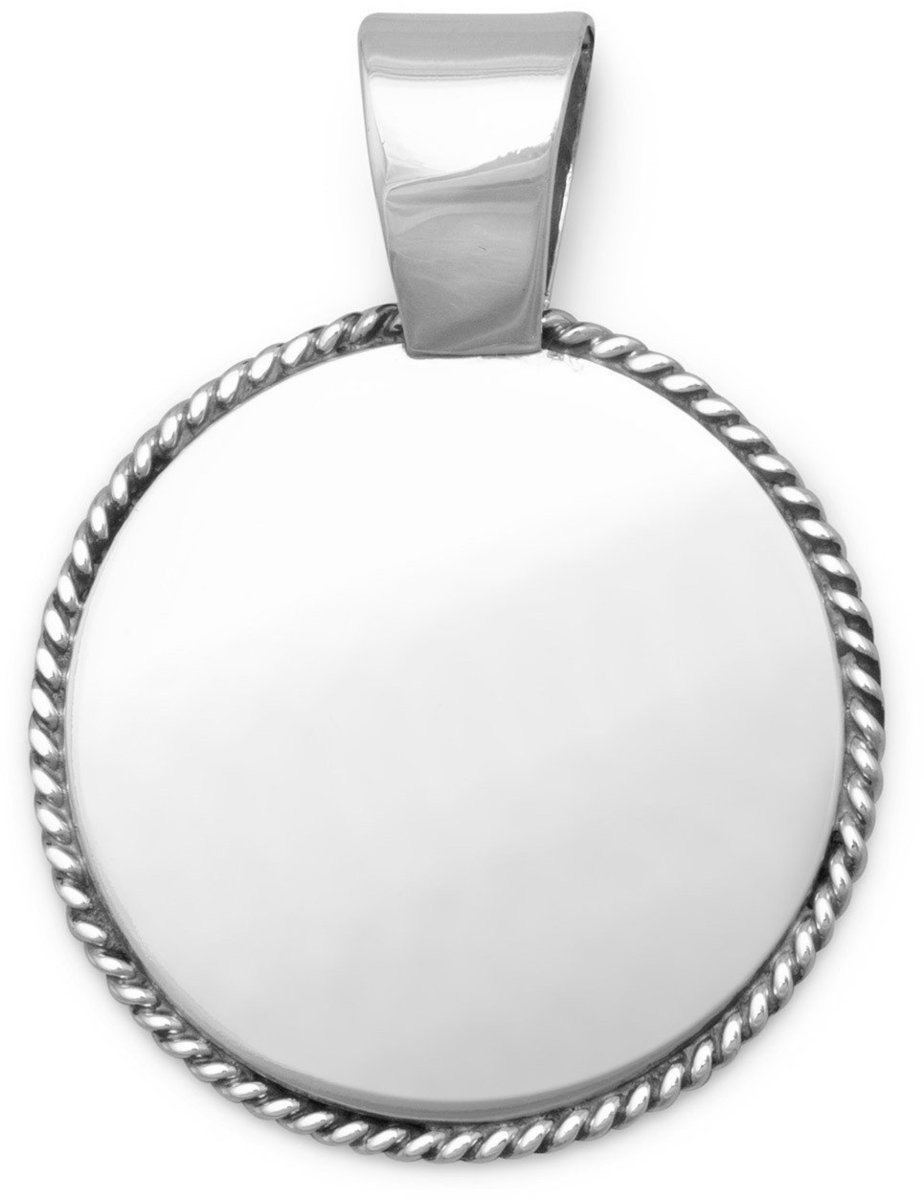 "33mm (1 1/3"") Disc with Rope Edge 925 Sterling Silver"