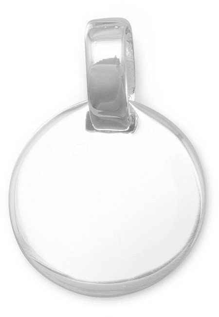 "14mm (9/16"") Round Engravable Tag 925 Sterling Silver"