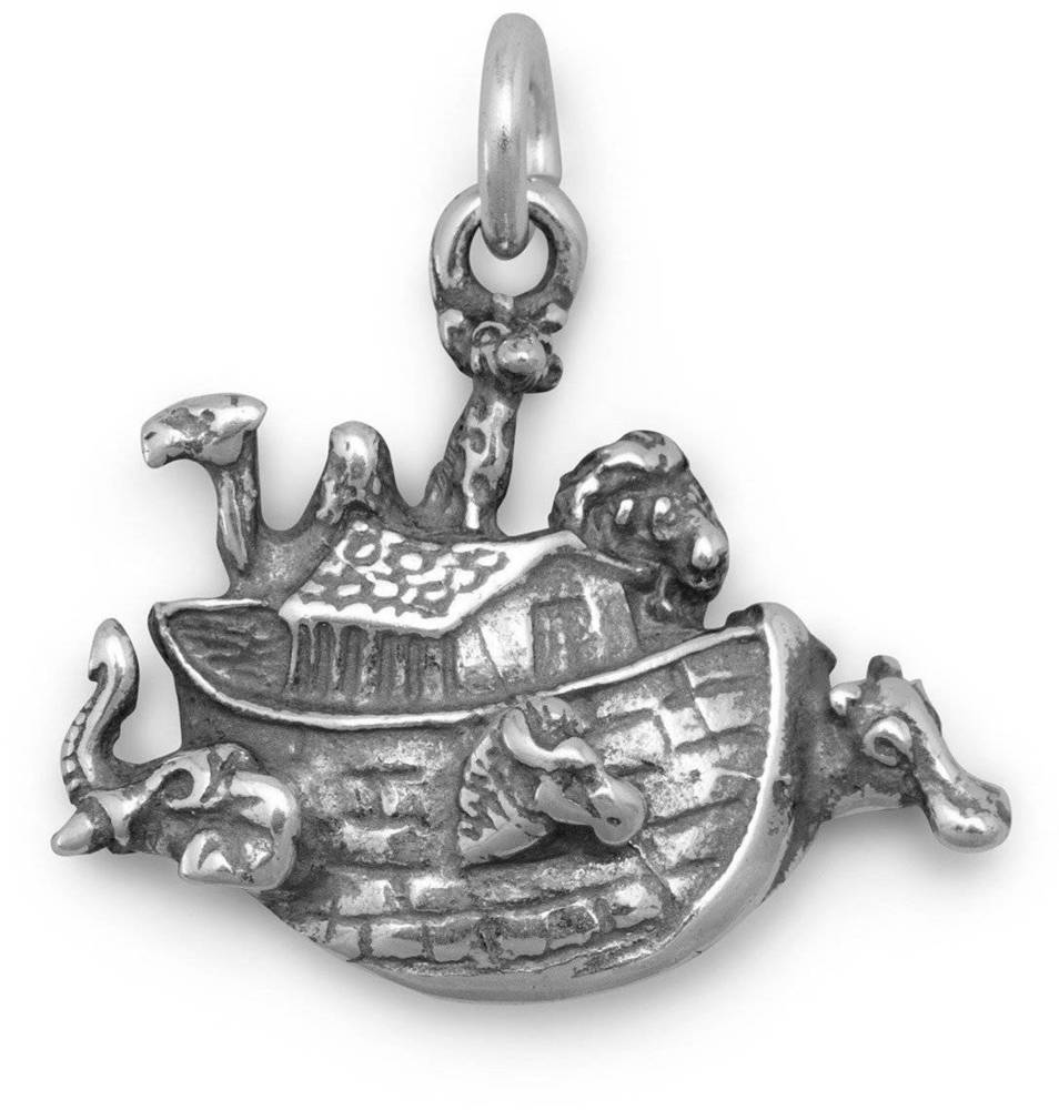 Small Noahs Ark Charm 925 Sterling Silver