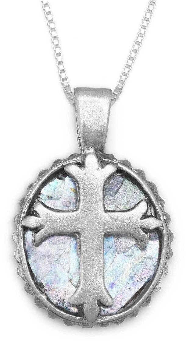 "18"" Round Ancient Roman Glass Cross Necklace 925 Sterling Silver"