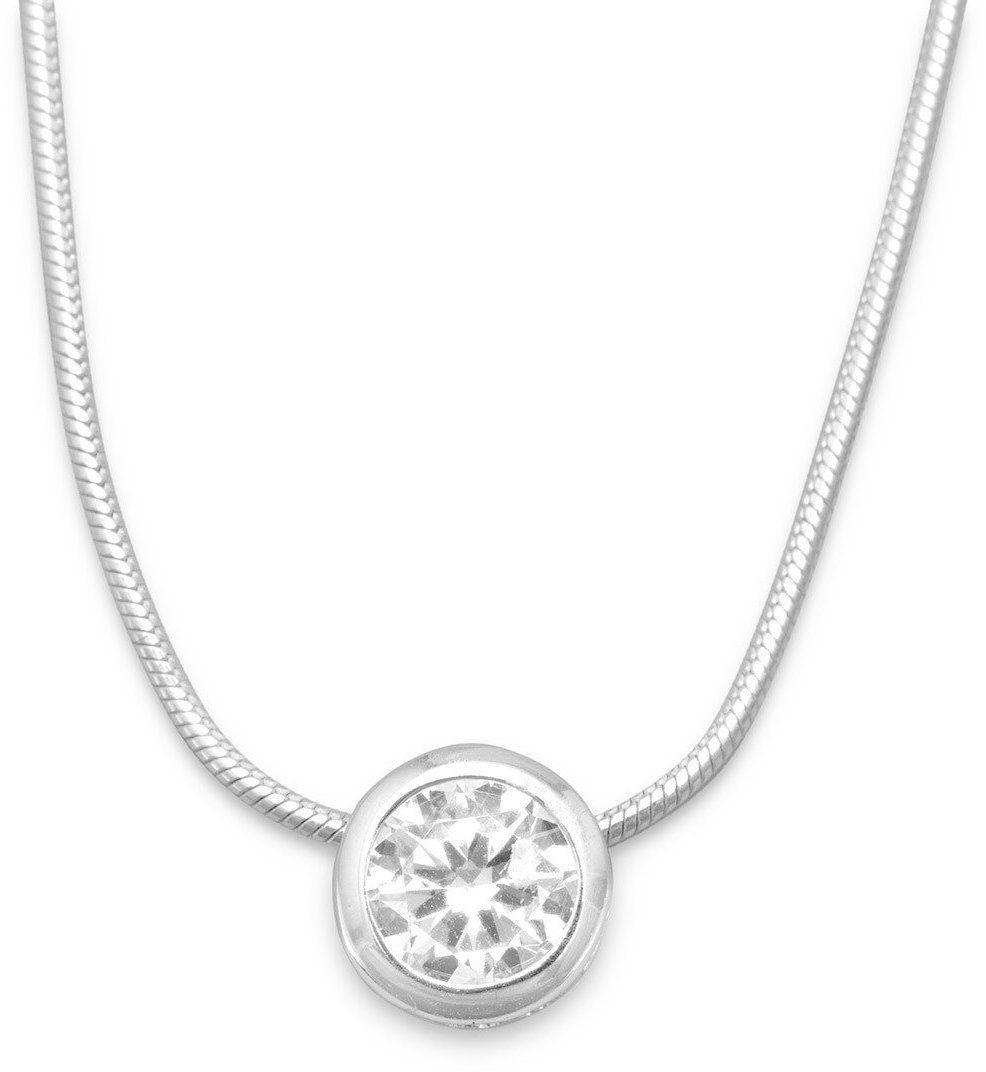 "16"" Necklace with 7mm (2/7"") Bezel Set CZ Slide 925 Sterling Silver"