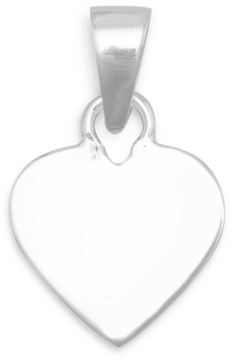 "13.5mm (1/2"") Engravable Heart  Tag 925 Sterling Silver"