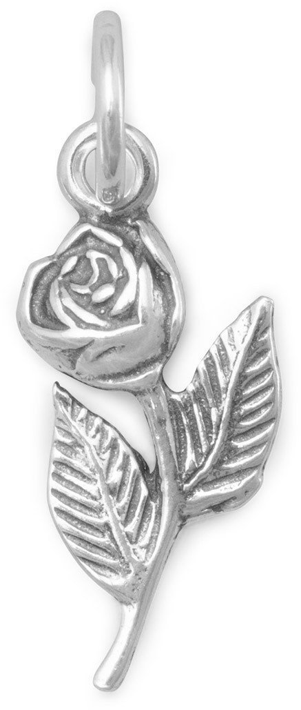 Rose with Stem Charm 925 Sterling Silver