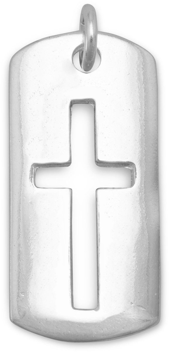 Rectangular Tag with Cut Out Cross Pendant 925 Sterling Silver