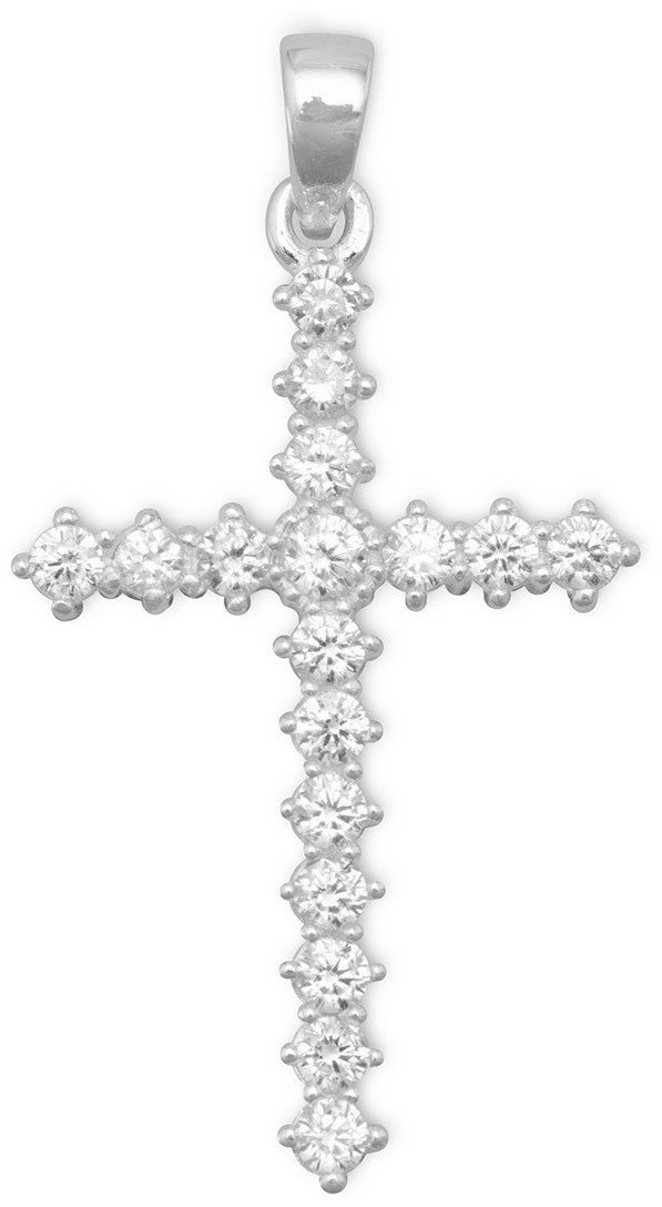 Cross with 17 CZs 925 Sterling Silver