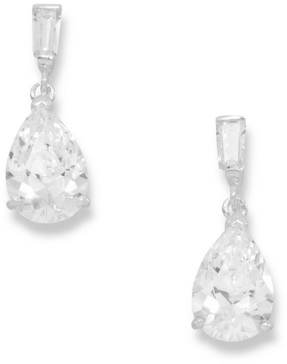 Pear Shape and Baguette CZ Post Earrings 925 Sterling Silver