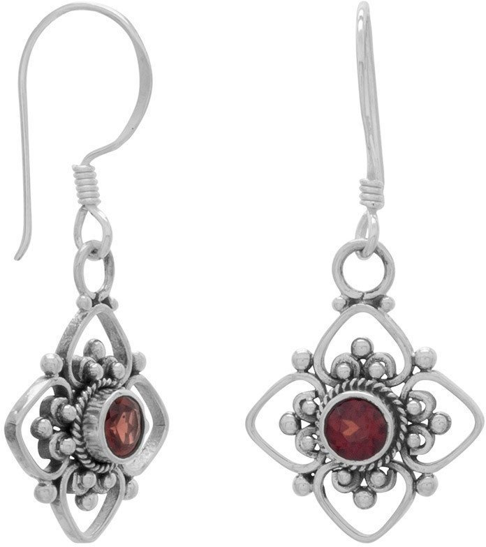 Round Faceted Garnet/Cut Flower Design Earrings on French Wire 925 Sterling Silver
