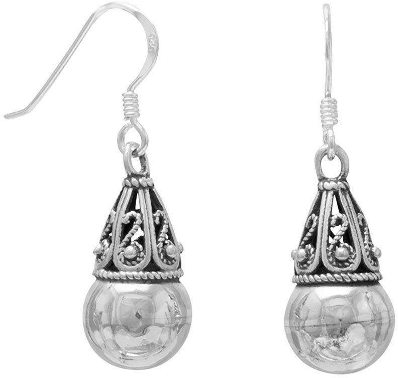 "8mm (1/3"") Bead with Bali Cap Earrings on French Wire 925 Sterling Silver"