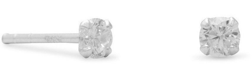 "3mm (1/8"") CZ Stud Earrings 925 Sterling Silver"