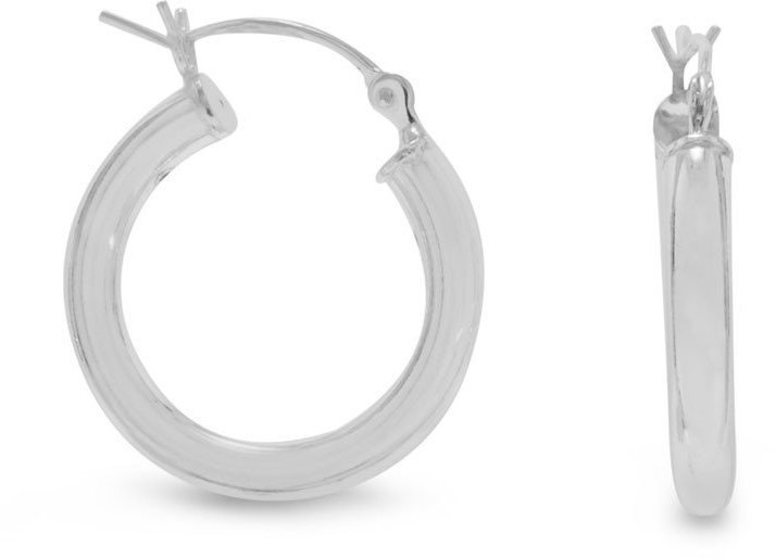 "3mm (1/8"") x 22mm Hoop Earrings with Click 925 Sterling Silver"