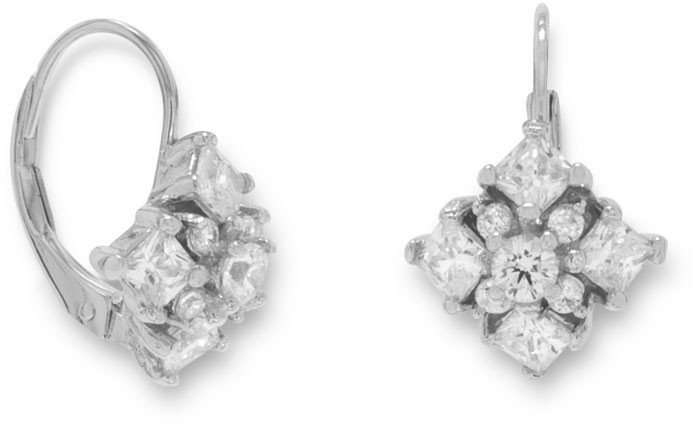 Rhodium Plated Diamond Pattern CZ Euro Earrings 925 Sterling Silver