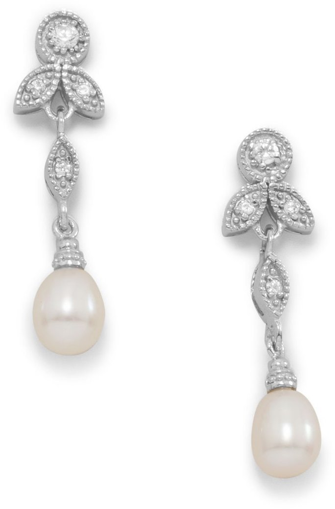 Rhodium Plated CZ and White Cultured Freshwater Pearl Earrings 925 Sterling Silver