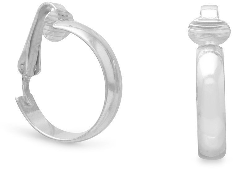"4.5mm (3/16"") Domed Clip-On Hoop Earrings 925 Sterling Silver"
