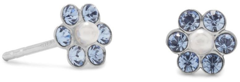 Light Blue Crystal and Simulated Pearl Flower Earrings 925 Sterling Silver