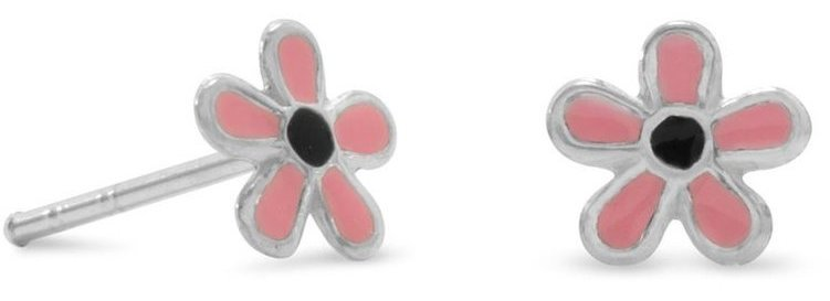 Pink/Black Enamel Flower Earrings 925 Sterling Silver