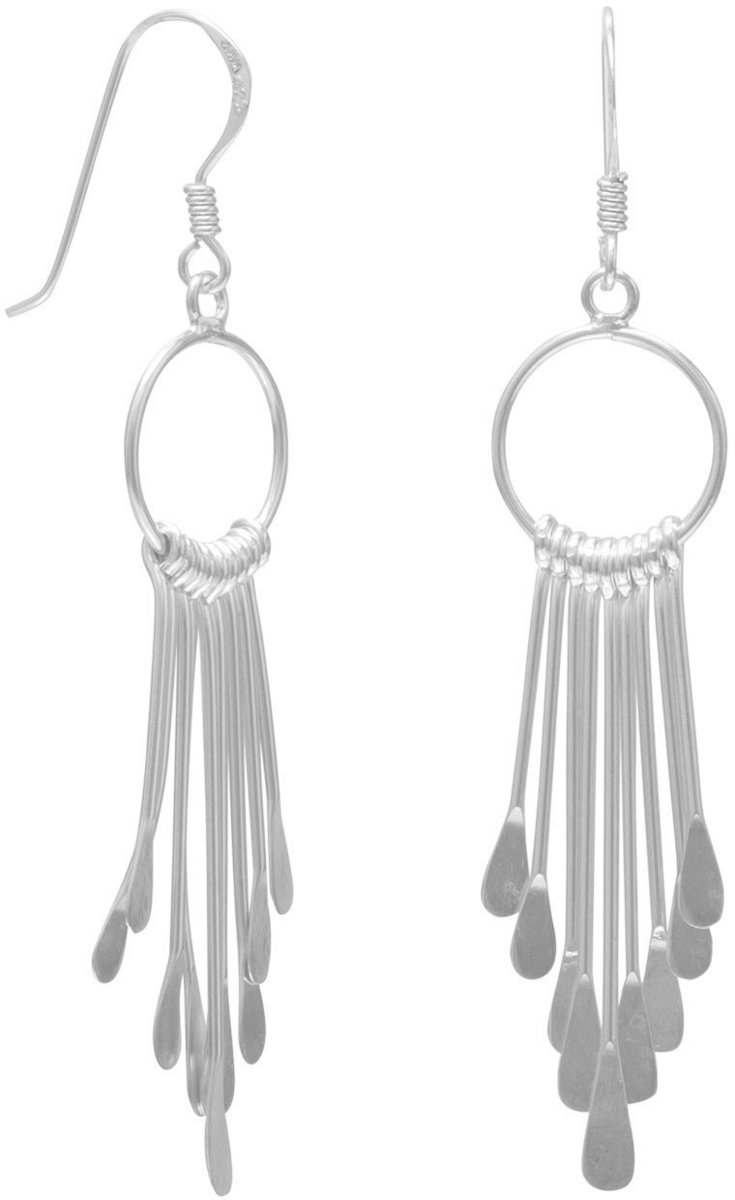 Open Circle/9 Bar Earrings on French Wire 925 Sterling Silver