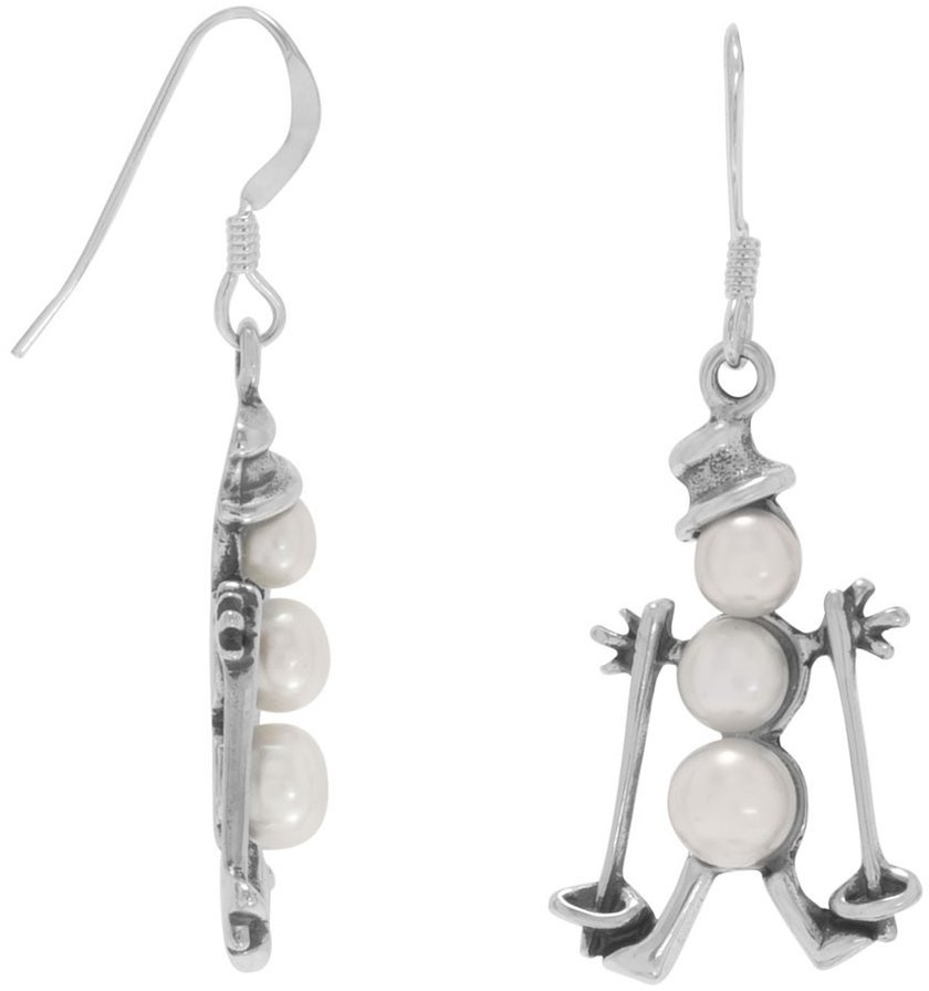 Cultured Freshwater Pearl Skiing Snowman Earrings 925 Sterling Silver