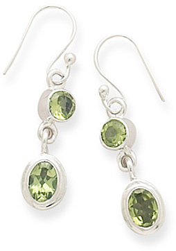 Round & Oval Peridot Polished Earrings on French Wire 925 Sterling Silver