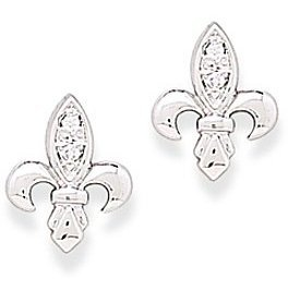 Rhodium Plated Fleur- de -lis CZ Post Earrings 925 Sterling Silver