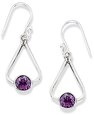 French Wire Earrings with Tri Shape and Round Amethyst Drop 925 Sterling Silver