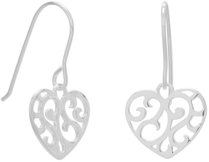 Cut Out Heart Design French Wire Earrings 925 Sterling Silver