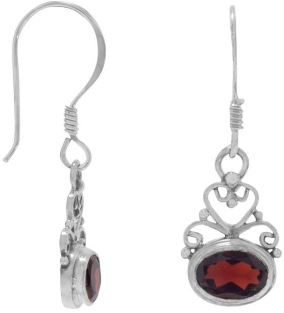 Scroll Heart Design with Garnet Earrings on French Wire 925 Sterling Silver