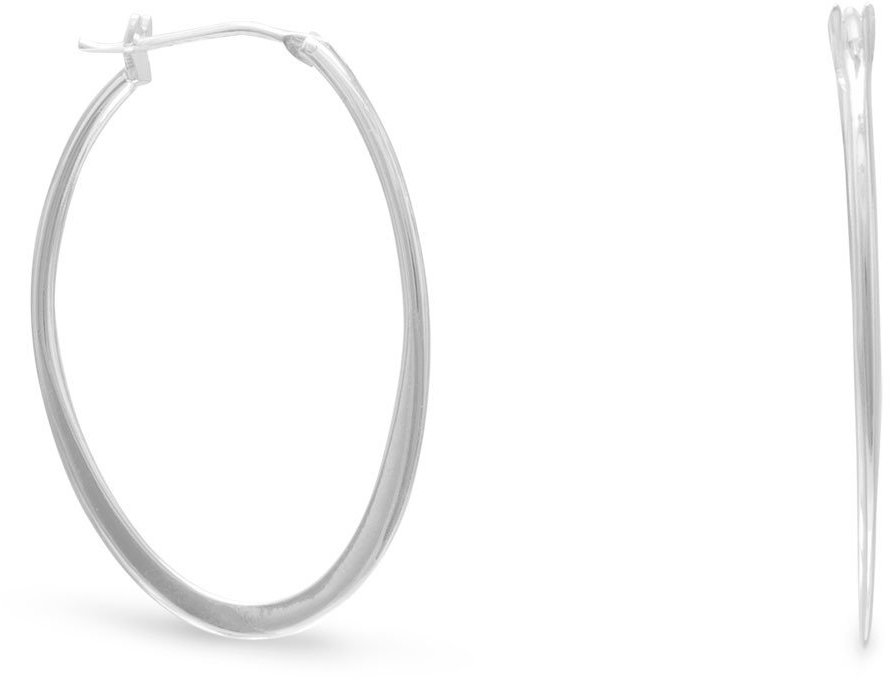 Graduated Flat Oval Hoop Earrings 925 Sterling Silver