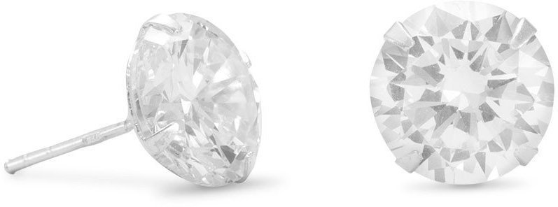 "10mm (3/8"") Clear CZ Stud Earrings 925 Sterling Silver"