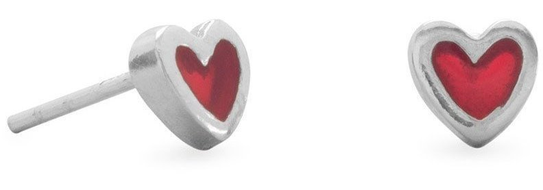 Red Heart Stud Earrings 925 Sterling Silver