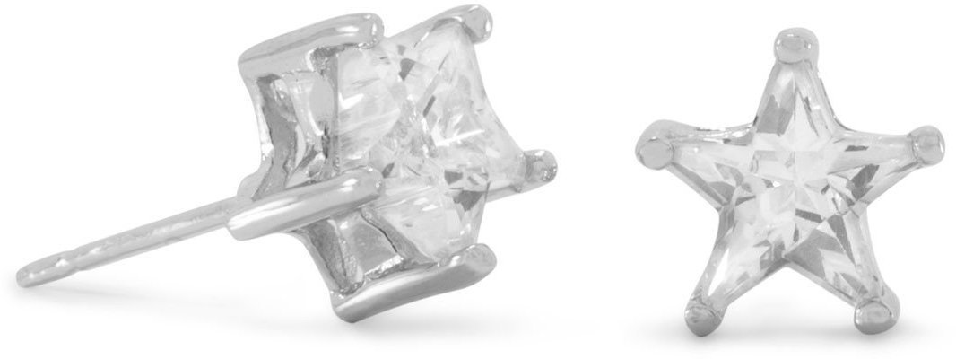 "Rhodium Plated 8mm (1/3"") CZ Star Stud Earrings 925 Sterling Silver"