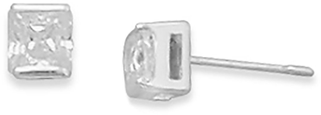 "4mm (1/6"") Square CZ Post Earrings 925 Sterling Silver"